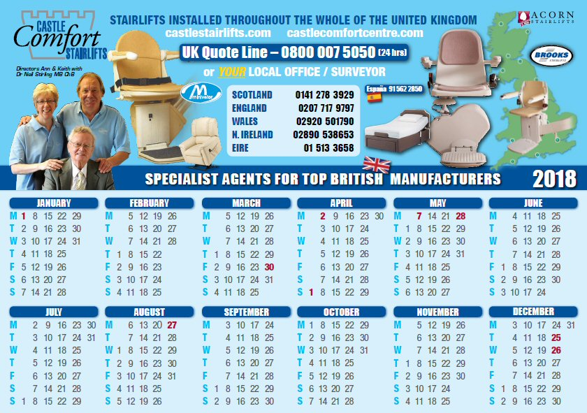 2018 Castle Comfort Stairlifts Calendar
