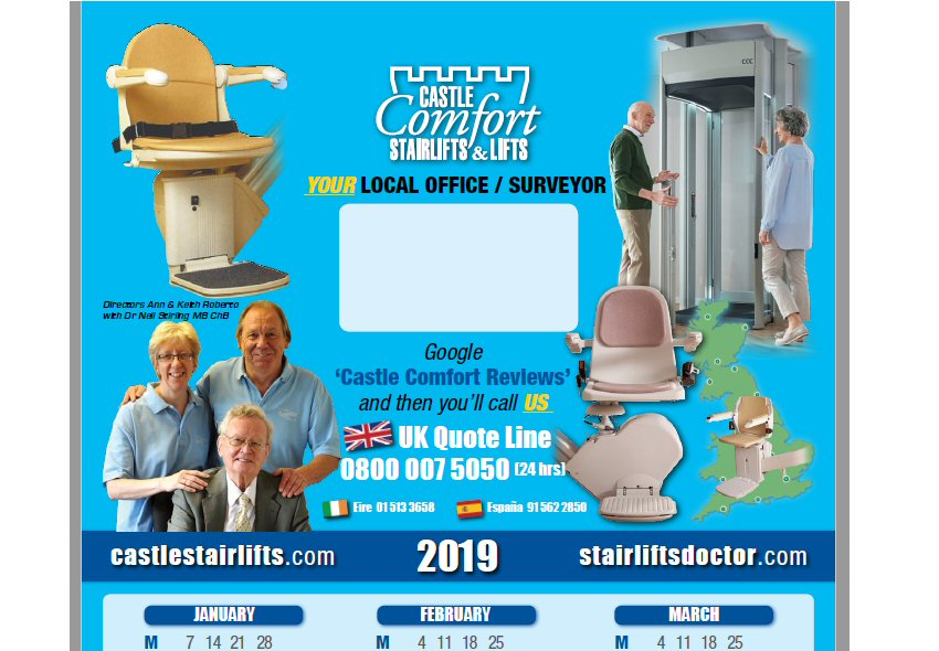 2019 Castle Comfort Stairlifts Calendar