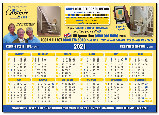 Download Your Castle Comfort Stairlifts 2021 Calendar